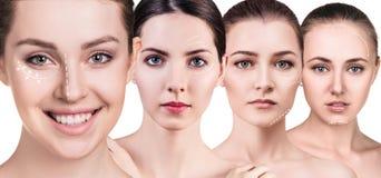 Πρόσωπα γυναικών ` s με την ανύψωση των βελών Στοκ Φωτογραφίες