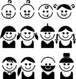 Πρόσωπα μωρών και παιδιών, διανυσματικό σύνολο εικονιδίων γραμμών Στοκ Φωτογραφίες