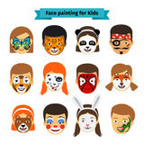 Πρόσωπα παιδιών με τη ζωγραφική διανυσματική απεικόνιση