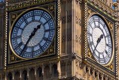 Πρόσωπα ρολογιών του πύργου Λονδίνο Big Ben Στοκ Εικόνες