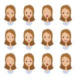 Πρόσωπα συγκίνησης των κοριτσιών διανυσματική απεικόνιση