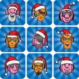 Πρόσωπα του DJ στα καπέλα santa απεικόνιση αποθεμάτων