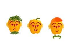 Πρόσωπα των αστείων ατόμων φιαγμένα από λαχανικά Στοκ εικόνες με δικαίωμα ελεύθερης χρήσης