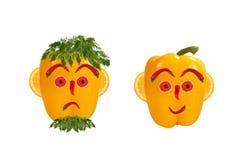 Πρόσωπα των αστείων ατόμων φιαγμένα από λαχανικά Στοκ Εικόνες