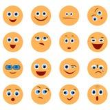 Πρόσωπα Smiley Emoji στο επίπεδο διάνυσμα σχεδίου Στοκ εικόνες με δικαίωμα ελεύθερης χρήσης