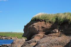 Πρόσωπο απότομων βράχων που διαβρώνεται από τον ωκεανό Στοκ Εικόνες