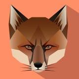 Πρόσωπο αλεπούδων με το επίπεδο σχέδιο Στοκ Εικόνες