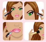 Πρόσωπο γυναίκας και να ισχύσει makeup απεικόνιση αποθεμάτων