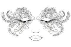 Πρόσωπο γυναικών σε μια μάσκα των λουλουδιών επίσης corel σύρετε το διάνυσμα απεικόνισης Στοκ Εικόνα