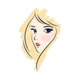 Πρόσωπο γυναικών hand-drawn Διανυσματική απεικόνιση