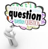 Πρόσωπο ερώτησης που σκέφτεται σκεπτόμενο να αναρωτηθεί φυσαλίδων Στοκ Φωτογραφίες