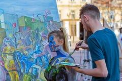 Πρόσωπο και ζωγραφική σωμάτων μιας γυναίκας Στοκ εικόνες με δικαίωμα ελεύθερης χρήσης