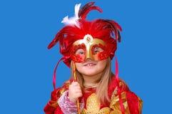 πρόσωπο μασκών κοριτσιών π&epsil Στοκ Φωτογραφία