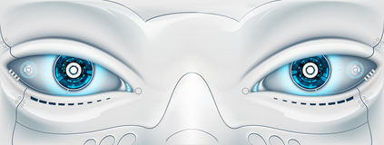 Πρόσωπο με τα μάτια το ρομπότ Φουτουριστική μηχανή Illus αποθεμάτων απεικόνιση αποθεμάτων