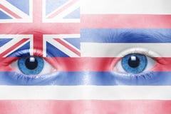 Πρόσωπο με την κρατική σημαία της Χαβάης Στοκ Εικόνες