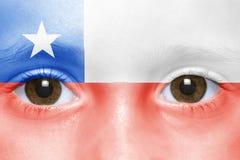 Πρόσωπο με την της Χιλής σημαία Στοκ Φωτογραφία