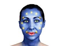 Πρόσωπο με τη σημαία της Ευρωπαϊκής Ένωσης Στοκ Φωτογραφία
