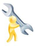 Πρόσωπο με το γιγαντιαίο γαλλικό κλειδί Στοκ φωτογραφία με δικαίωμα ελεύθερης χρήσης