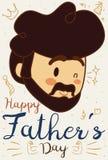 Πρόσωπο μπαμπάδων με μερικά σχέδια Doodle για την ημέρα πατέρων ` s, διανυσματική απεικόνιση ελεύθερη απεικόνιση δικαιώματος