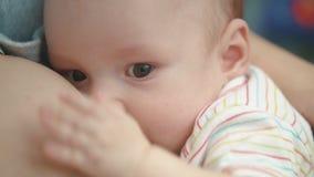 Πρόσωπο μωρών θηλασμού Καλό νήπιο που τρώει το γάλα μητέρων Γλυκιά μητρότητα φιλμ μικρού μήκους