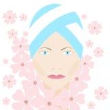 Πρόσωπο ομορφιάς με τα λουλούδια απεικόνιση αποθεμάτων
