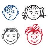 Πρόσωπο παιδιών. Διανυσματικό σύνολο διανυσματική απεικόνιση