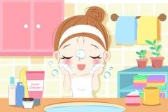 Πρόσωπο πλυσίματος γυναικών φροντίδας δέρματος απεικόνιση αποθεμάτων