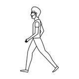 πρόσωπο που περπατά το απομονωμένο εικονίδιο Στοκ Φωτογραφία