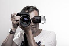 Πρόσωπο που πυροβολείται ενός φωτογράφου Στοκ φωτογραφία με δικαίωμα ελεύθερης χρήσης