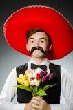 Πρόσωπο που φορά το καπέλο σομπρέρο στην αστεία έννοια στοκ εικόνες