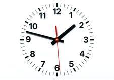 Πρόσωπο ρολογιών τοίχων με την ώρα, το λεπτό και τα από δεύτερο χέρι ελεύθερη απεικόνιση δικαιώματος
