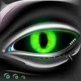 Πρόσωπο ρομπότ με τα πράσινα μάτια γατών διανυσματική απεικόνιση