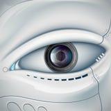 Πρόσωπο ρομπότ με το φακό καμερών στο μάτι Futuris αποθεμάτων διανυσματική απεικόνιση
