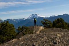 Πρόσωπο στο andscape με τους βράχους, τα δασικά και χιονισμένα βουνά Στοκ Εικόνα