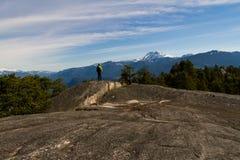 Πρόσωπο στο andscape με τους βράχους, τα δασικά και χιονισμένα βουνά Στοκ φωτογραφία με δικαίωμα ελεύθερης χρήσης
