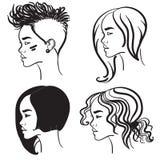 Πρόσωπο τέσσερα στο σχεδιάγραμμα Διανυσματικές σκιαγραφίες των κοριτσιών Στοκ εικόνα με δικαίωμα ελεύθερης χρήσης