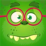 Πρόσωπο τεράτων κινούμενων σχεδίων που φορά eyeglasses Διανυσματικό τετραγωνικό είδωλο τεράτων αποκριών αστείο πράσινο έξυπνο διανυσματική απεικόνιση