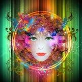 Πρόσωπο της έξυπνης γυναίκας χρωμάτων Στοκ Εικόνες