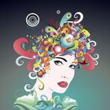 Πρόσωπο της έξυπνης γυναίκας χρωμάτων Στοκ φωτογραφία με δικαίωμα ελεύθερης χρήσης