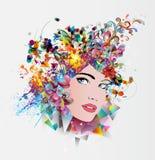 Πρόσωπο της έξυπνης γυναίκας χρωμάτων Στοκ εικόνες με δικαίωμα ελεύθερης χρήσης