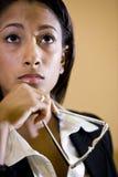 Πρόσωπο της αρκετά νέας αφρικανικός-αμερικανικής γυναίκας Στοκ εικόνες με δικαίωμα ελεύθερης χρήσης