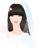 Πρόσωπο της κινεζικής νύφης ελεύθερη απεικόνιση δικαιώματος