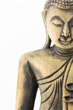 Πρόσωπο της ξύλινης γλυπτικής του Βούδα που απομονώνεται στο άσπρο υπόβαθρο Στοκ Εικόνες