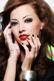 Πρόσωπο της όμορφης γυναίκας με τη σύνθεση μόδας Στοκ Εικόνα