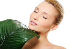 Πρόσωπο της όμορφης γυναίκας με το μεγάλο πράσινο φύλλο Στοκ φωτογραφίες με δικαίωμα ελεύθερης χρήσης