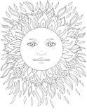 Πρόσωπο του ήλιου, ακτίνες, ηλιόλουστες, δερματοστιξία, γραφική παράσταση Στοκ Εικόνα