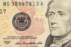 Πρόσωπο του Αλεξάνδρου Χάμιλτον στη μακροεντολή λογαριασμών αμερικανικών δέκα ή 10 δολαρίων στοκ φωτογραφία με δικαίωμα ελεύθερης χρήσης