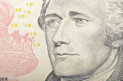 Πρόσωπο του Αλεξάνδρου Χάμιλτον στη μακροεντολή λογαριασμών δέκα δολαρίων, 10 Δολ ΗΠΑ, που ενώνονται Στοκ εικόνα με δικαίωμα ελεύθερης χρήσης
