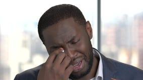 Πρόσωπο του φωνάζοντας αφροαμερικανός ατόμου απόθεμα βίντεο