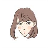 Πρόσωπο χέρι-drawn2 γυναικών Απεικόνιση αποθεμάτων